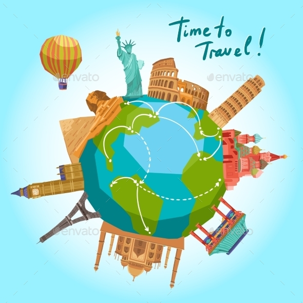 GraphicRiver Travel Landmarks Background 11629396