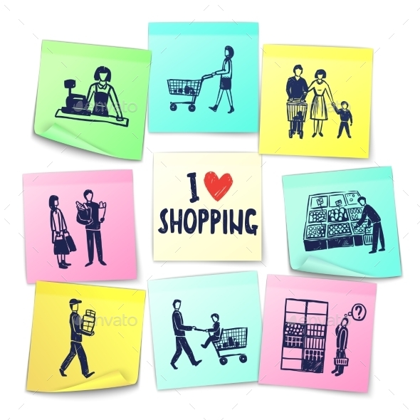 GraphicRiver Sticker Note Style Supermarket Cards 11629400