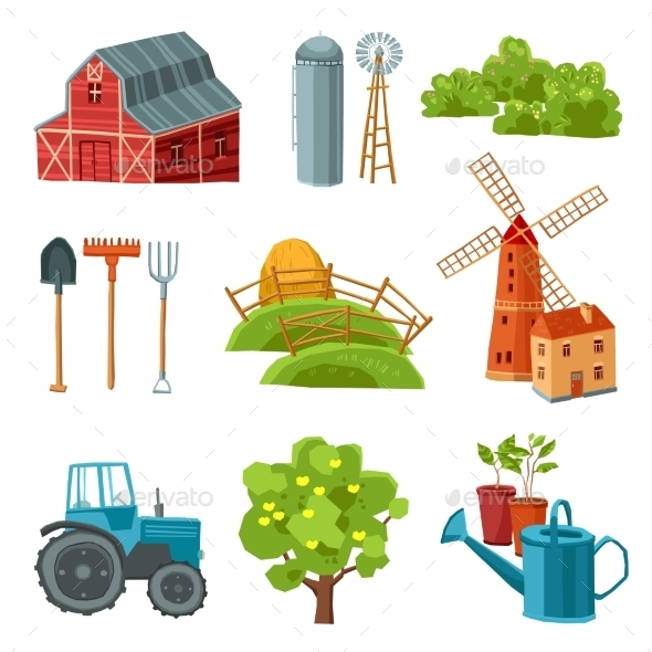 GraphicRiver Farm Decorative Multicolored Set 11629403