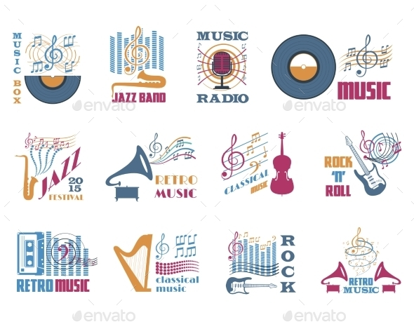 GraphicRiver Retro Music Emblems 11629418
