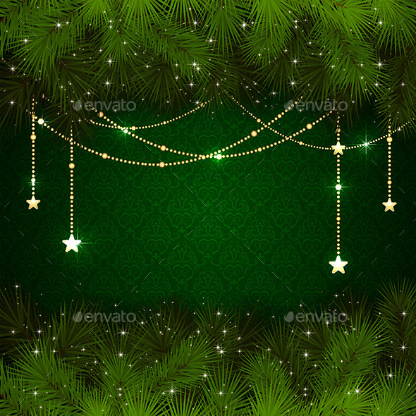 GraphicRiver Christmas Decoration on Green Background 11629782