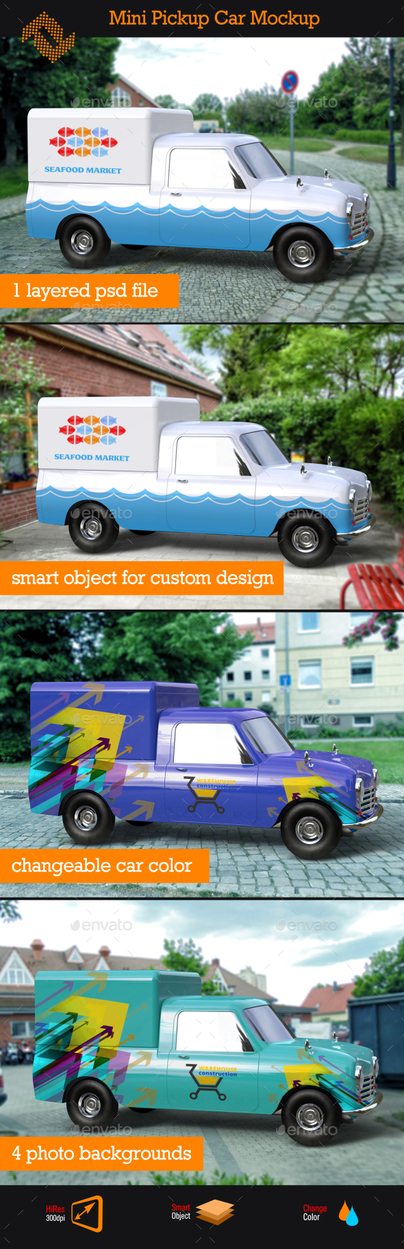 Mini Pickup Car Mockup