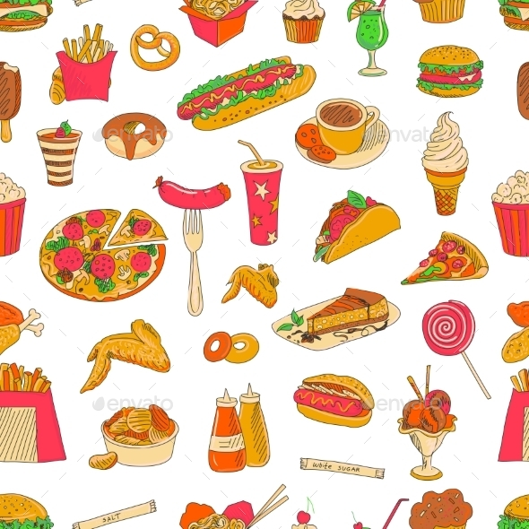 GraphicRiver Colored Hand Drawn Fast Food Pattern 11630034