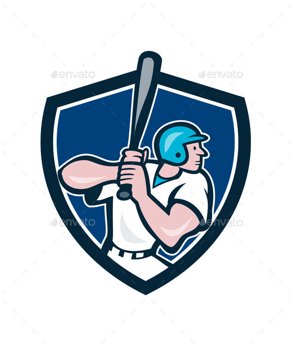 GraphicRiver Baseball Player Batting Shield Cartoon 11630986