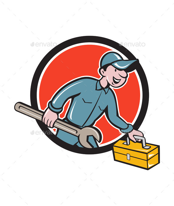 GraphicRiver Mechanic Carrying Toolbox Circle Cartoon 11631021