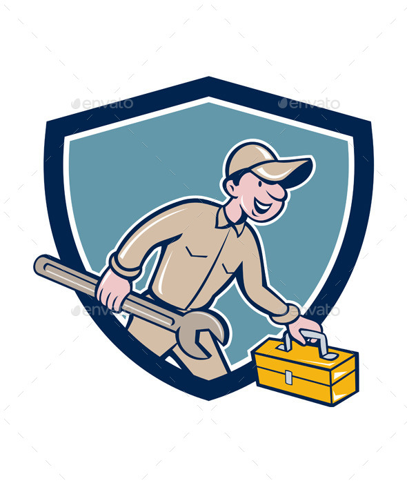 GraphicRiver Mechanic Carrying Toolbox Shield Cartoon 11631023