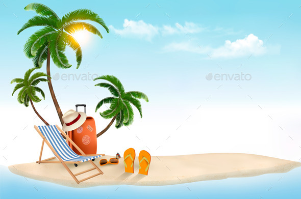 GraphicRiver Travel Background with Beach Chair and Palms 11631029