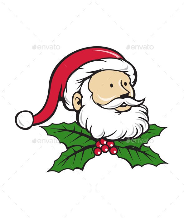 GraphicRiver Santa Claus Head with Christmas Holly Cartoon 11631043