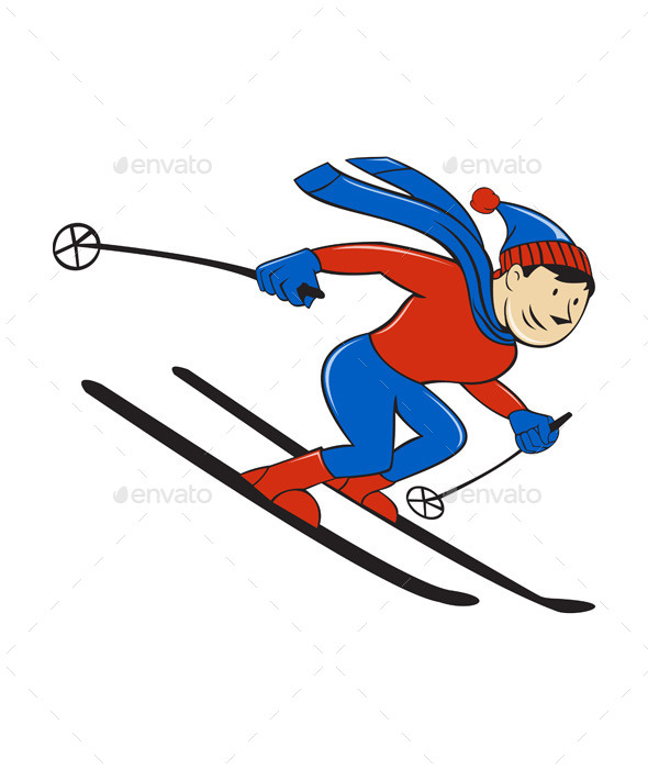 GraphicRiver Skier Skiing Side Isolated Cartoon 11631047