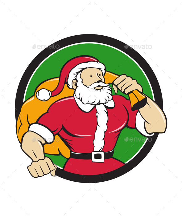 GraphicRiver Super Santa Claus Carrying Sack Circle Cartoon 11631049