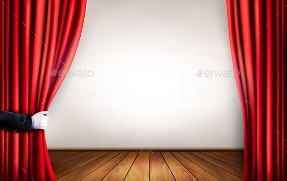 GraphicRiver Background with Red Velvet Curtain and Hand 11631058