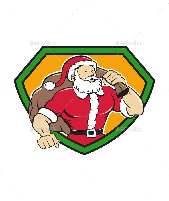 GraphicRiver Super Santa Claus Carrying Sack Shield Cartoon 11631059
