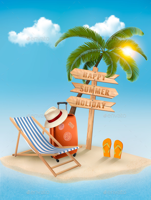 GraphicRiver Beach with a Palm Tree and Direction Sign 11631067