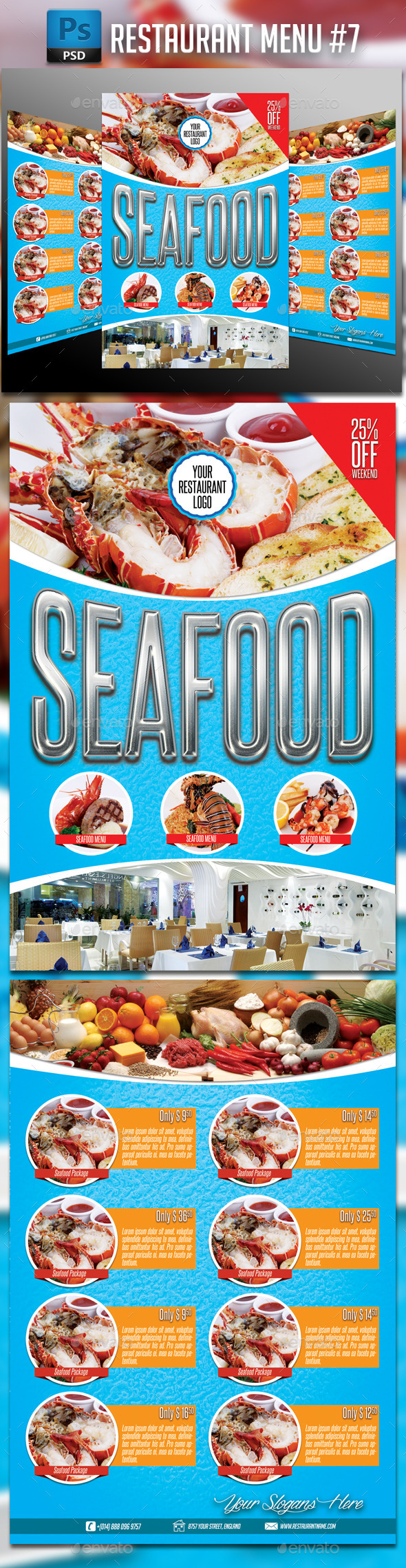 GraphicRiver Seafood Restaurant Menu 11631914