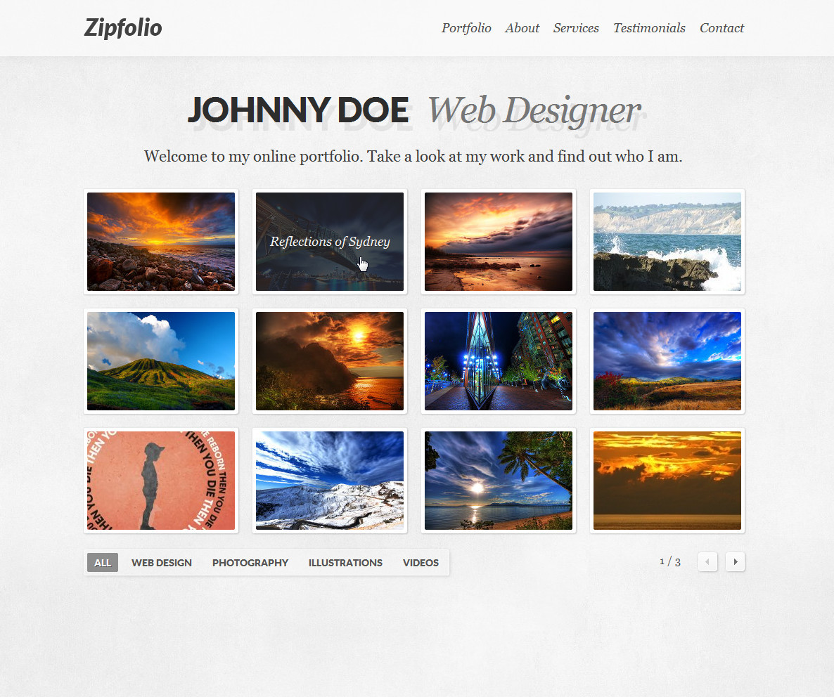 Zipfolio - Single Page Portfolio Template - The portfolio section with category filters, pagination and hover titles.