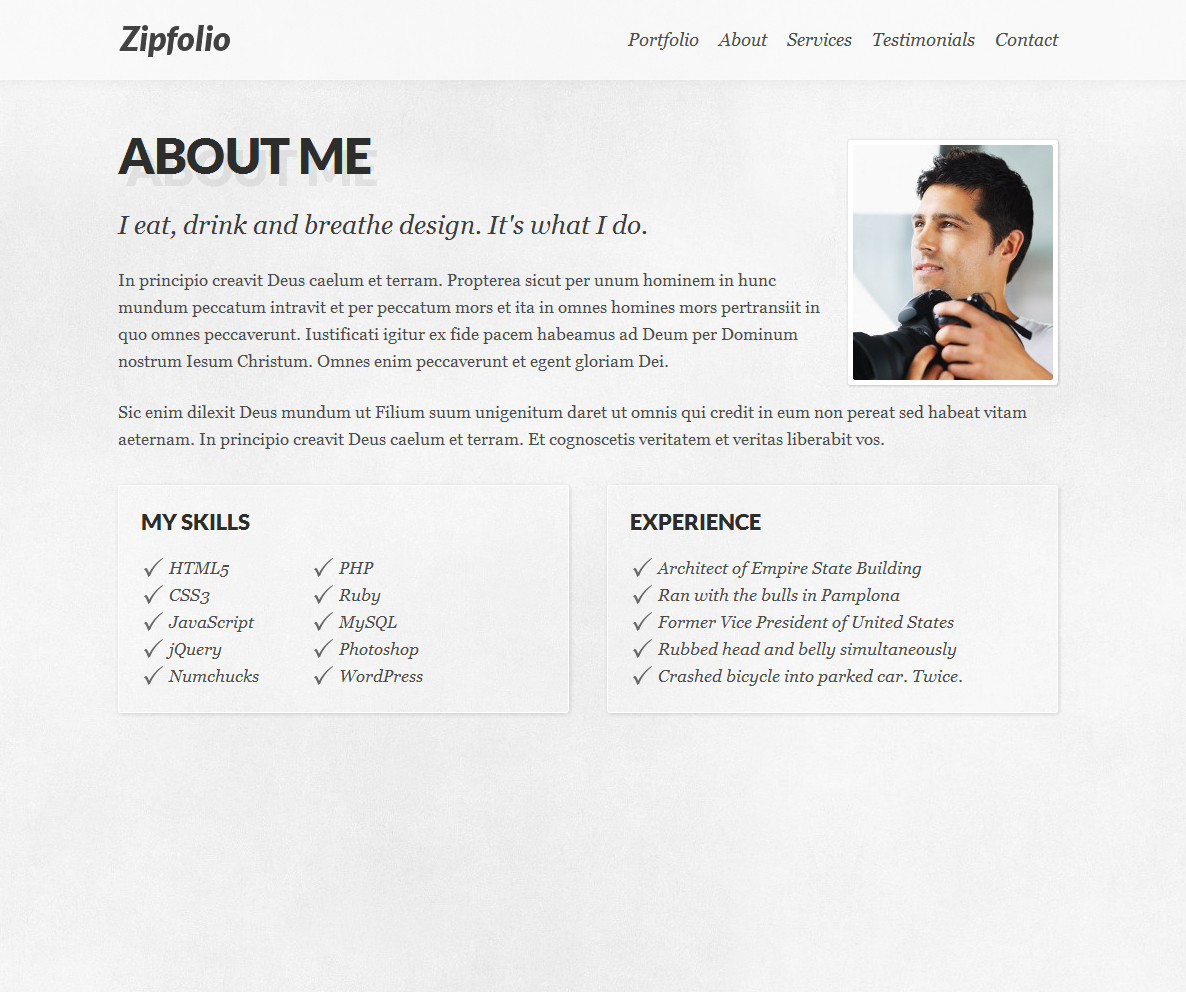 Zipfolio - Single Page Portfolio Template - The about section has room for a bio, portrait, skills and experiences.