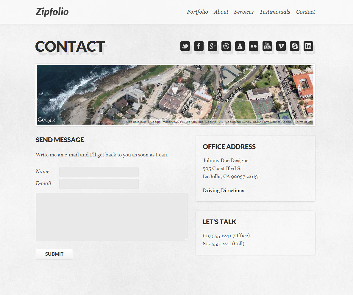 Zipfolio - Single Page Portfolio Template - The contact section has social media icons, an optional map and PHP-powered contact form.