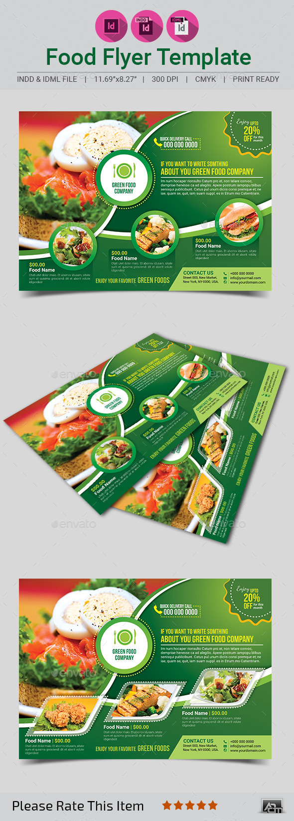 GraphicRiver Green Food Flyer Template 11564056