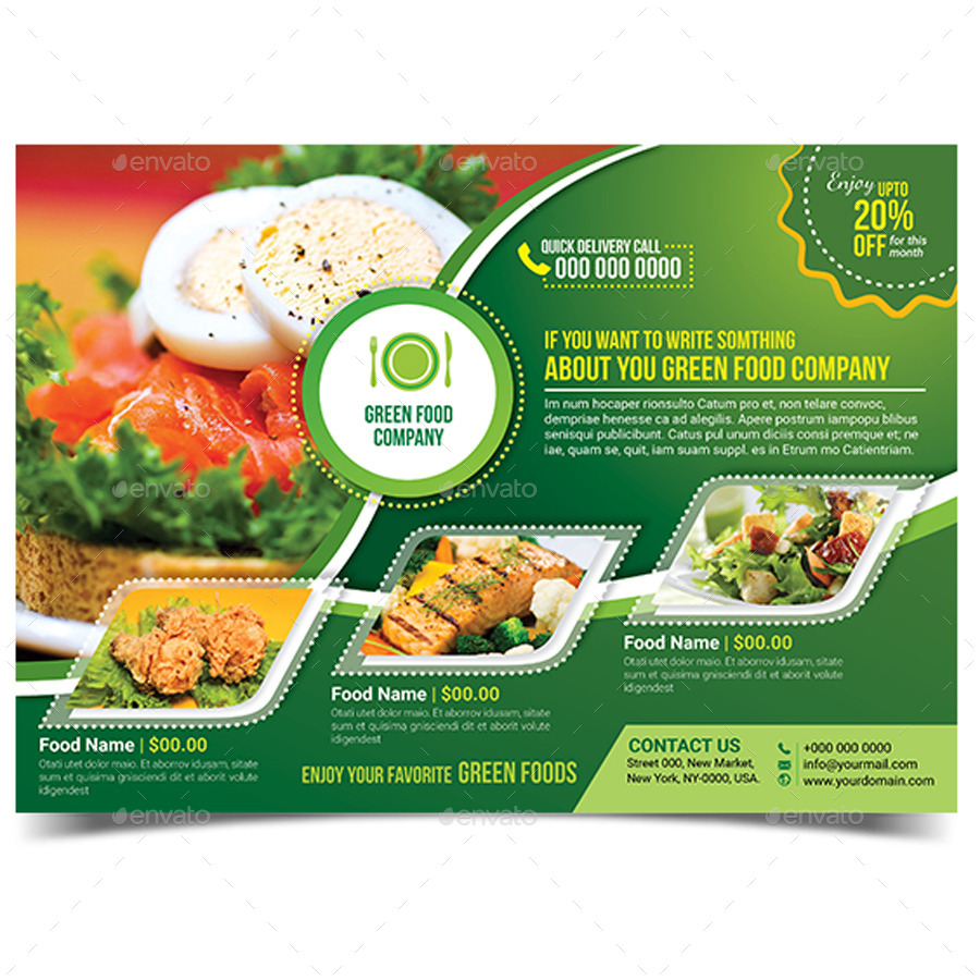 Green Food Flyer Template by aam360 – Food Flyer Template