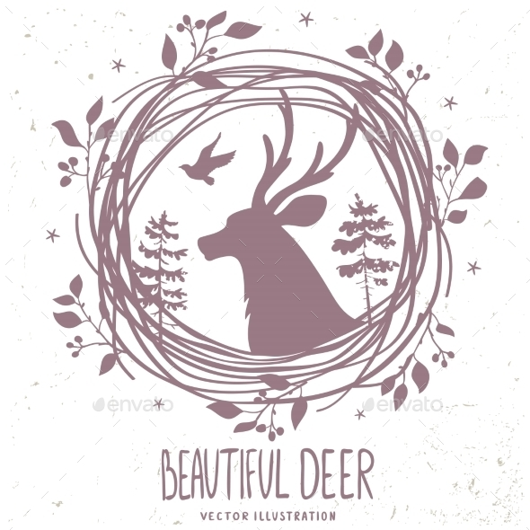 GraphicRiver Deer Silhouette Forestry 11637278
