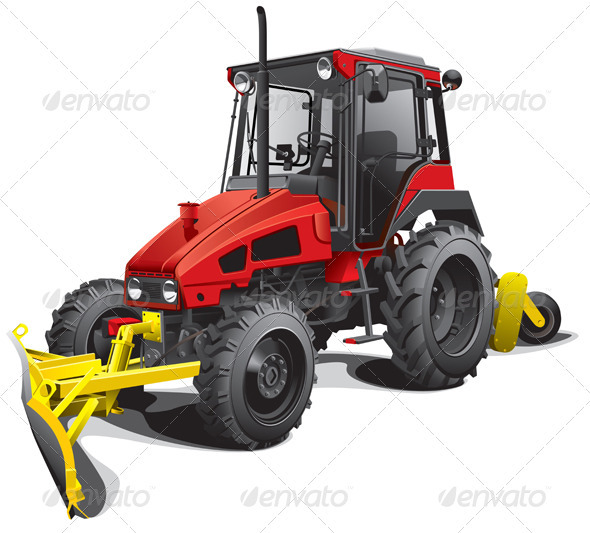 Snow Plow Tractor - Objects Vectors