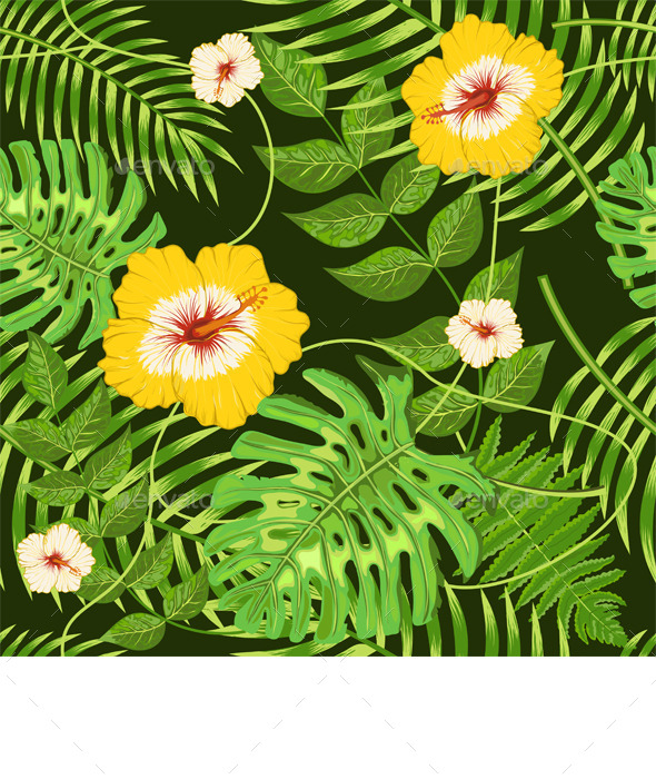 GraphicRiver Seamless Pattern with Exotic Tropical Leaves 11637672