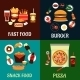 Fast Food and Takeaway Flat Icons - GraphicRiver Item for Sale