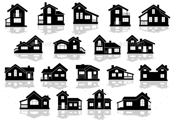 GraphicRiver Black Silhouettes of Houses and Cottages 11638881