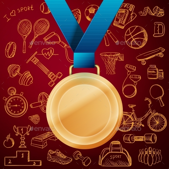 GraphicRiver Hand Drawn Fitness Doodle Set with Gold Medal 11639950