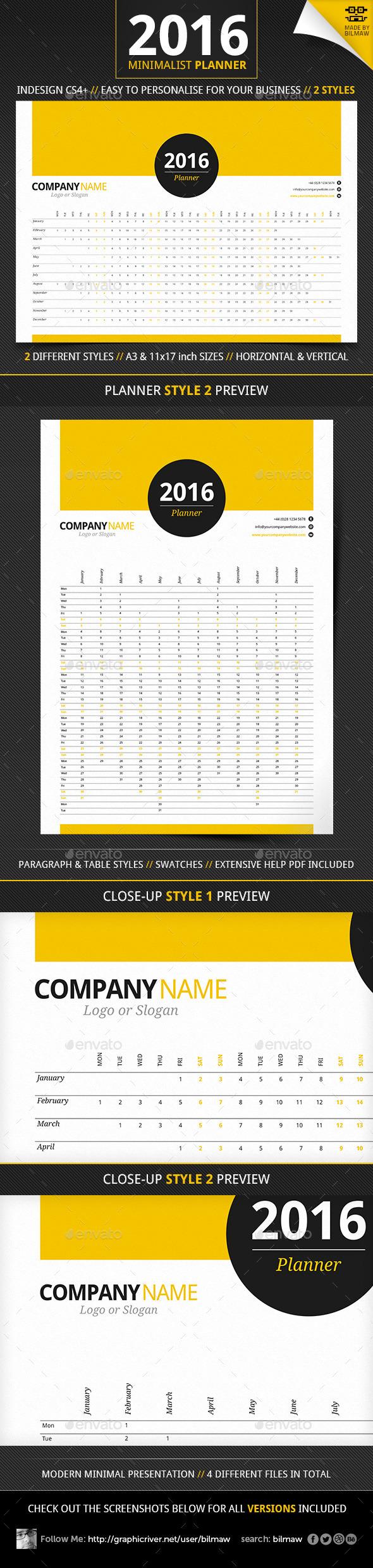 Minimalist Year Planner - Calendars Stationery