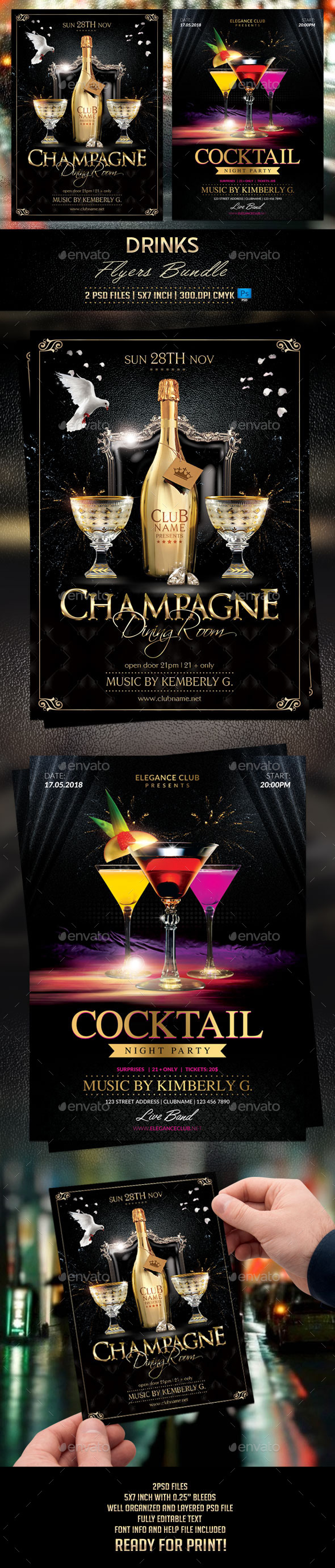 GraphicRiver Drinks Flyers Bundle 11641716