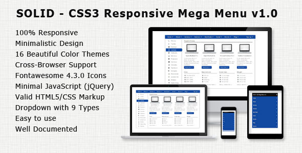 SOLID – CSS3 Responsive Mega Menu v1.0 (Navigation and Menus) Download