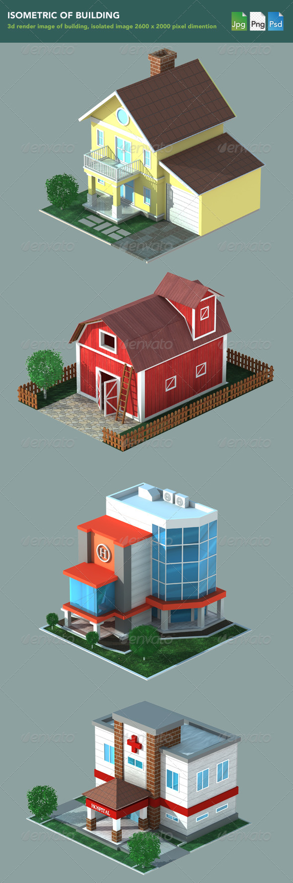 GraphicRiver Isometric 3D Render of Building 1167496
