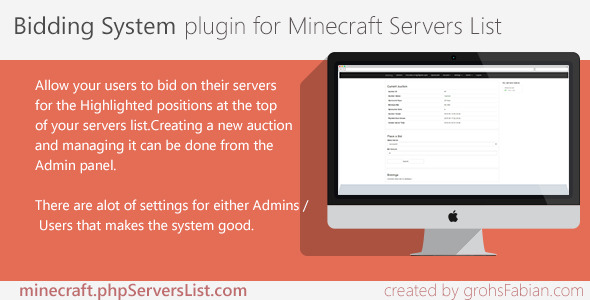 Bidding System for Minecraft Servers List