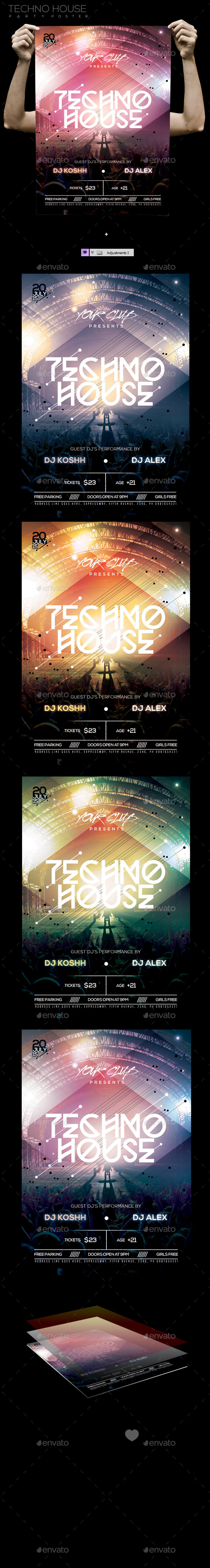 GraphicRiver Techno House Party PSD Template 11645280