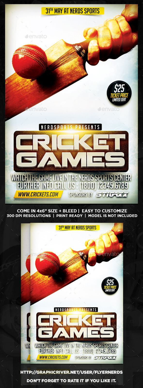 GraphicRiver Cricket Games Sports Flyer 11584880