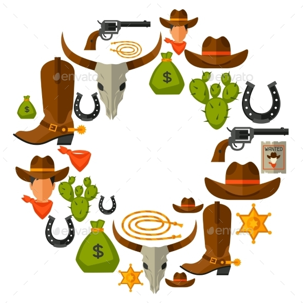 GraphicRiver Wild West Background with Cowboy Objects 11646062