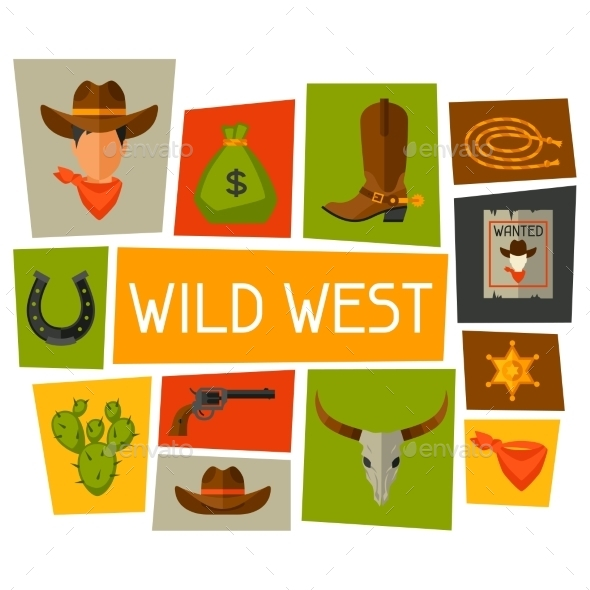 GraphicRiver Wild West Background with Cowboy Objects 11646063