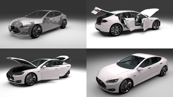 Tesla Model S with chassis-interior - 3DOcean Item for Sale