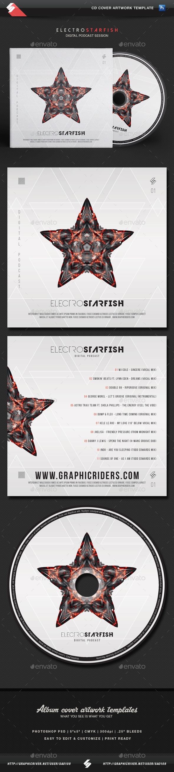 GraphicRiver Electro Starfish CD Cover Artwork Template 11646467