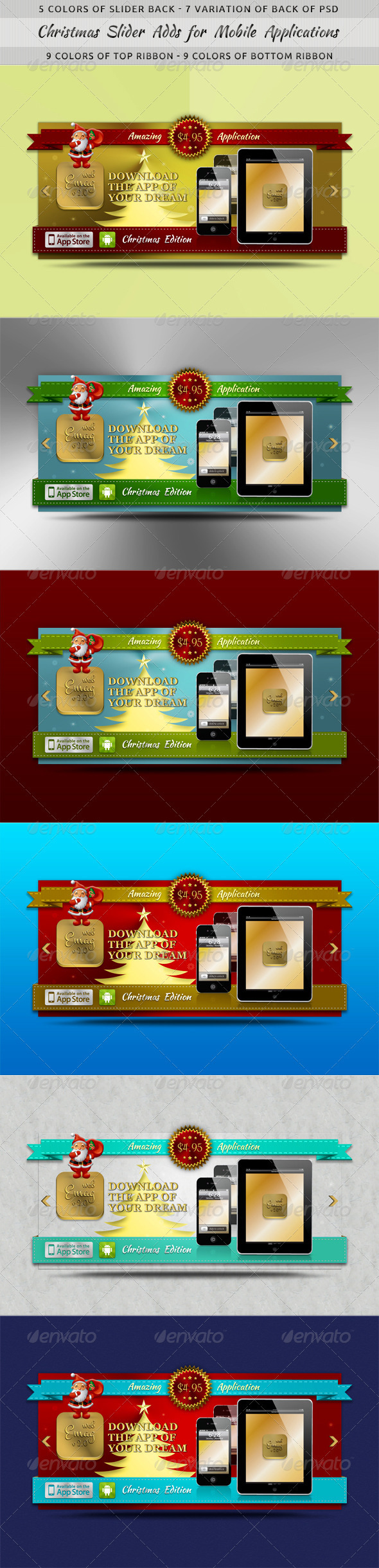 Christmas Slider Ads for Mobile Applications - Sliders & Features Web Elements