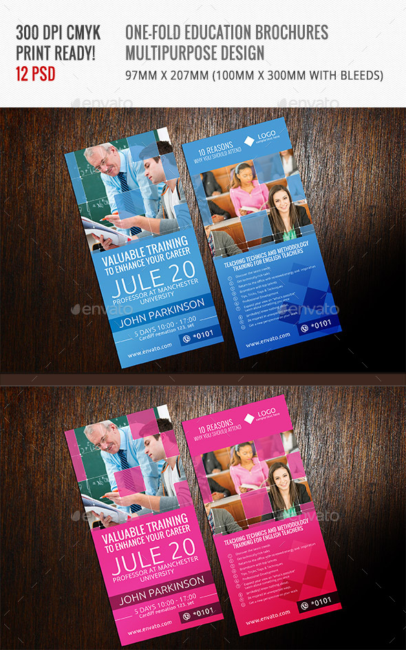 GraphicRiver One-Fold Brochures for Education Center 11562122