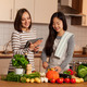 Two female friends are cooking together at home - PhotoDune Item for Sale