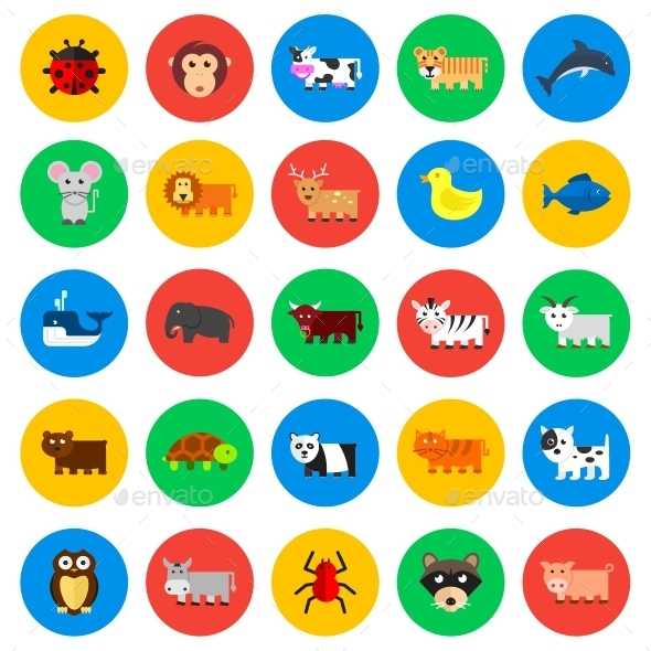 GraphicRiver Animals Circle Icons 11647297