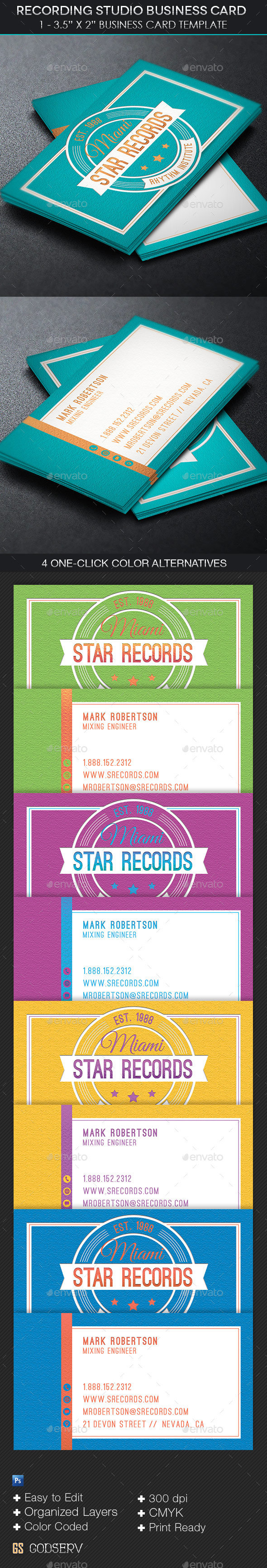 GraphicRiver Recording Studio Business Card Template 11609696