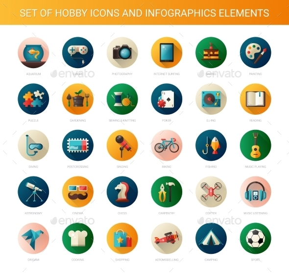 GraphicRiver Set of Modern Flat Design Hobby Icons 11647585