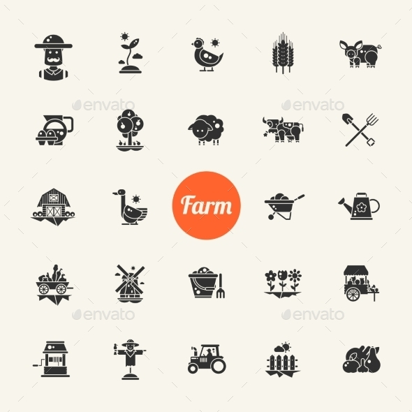 GraphicRiver Set of Farm Agriculture Flat Design Icons 11647593