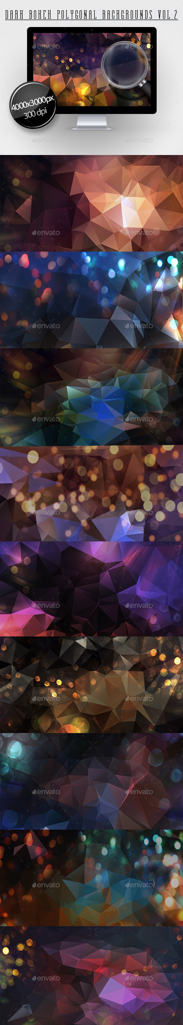 GraphicRiver Dark Bokeh Polygonal Backgroundns Vol.2 11647641