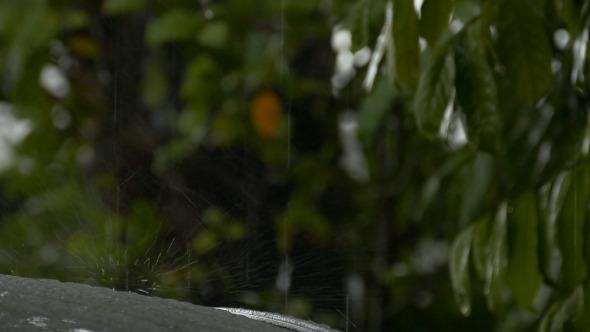 VideoHive Rain Falling On A Car Roof 11647826