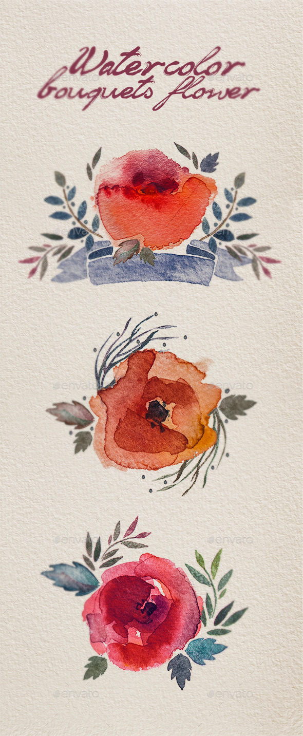 GraphicRiver Watercolor bouquet flowers 11648076